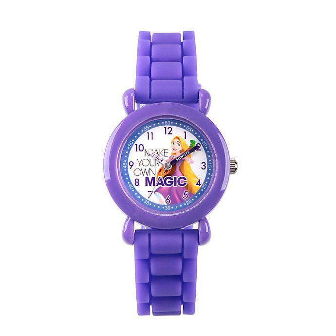 Alternate image 1 for Disney® Rapunzel Children's Time Teacher Watch in Purple Plastic with Purple Silicone Strap