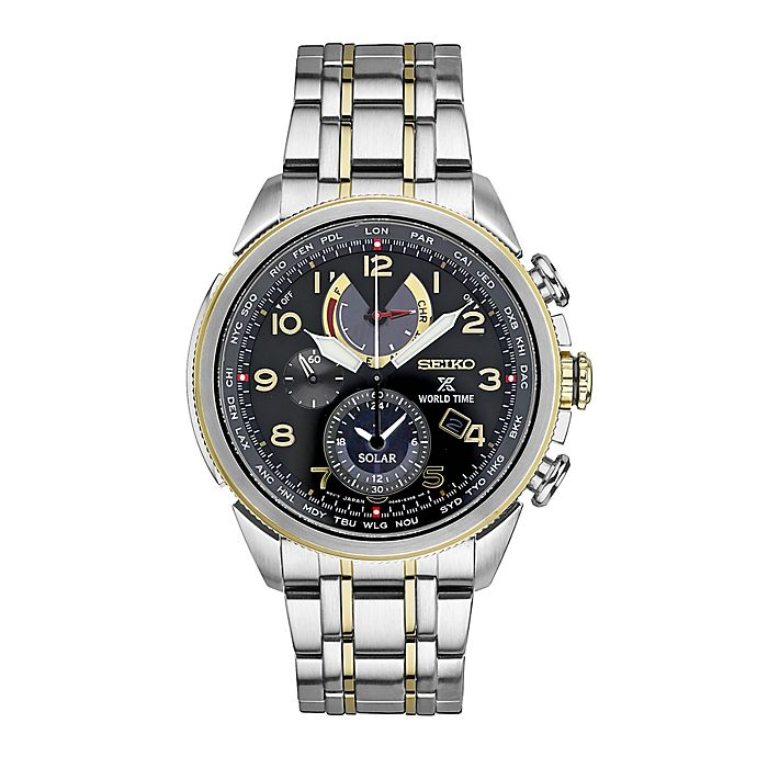 fc333c4ab Seiko Men's 42mm Prospex World Time Solar Chrono Bracelet Watch in Two-Tone  Stainless Steel