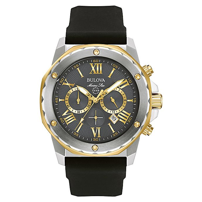 741ec8591 Bulova Marine Star Men's 44mm Grey Chronograph Watch in Stainless Steel w/ Black Silicone Strap
