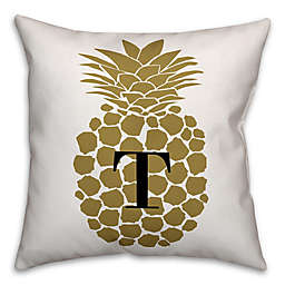 Pineapple Square Throw Pillow in Gold