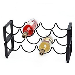 Old Dutch International Stackable 4-Bottle Wine Rack in Matte Black