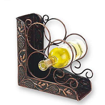 Old Dutch International Antique Heritage 3-Bottle Bookend Wine Rack in Copper