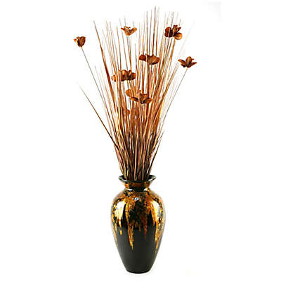 D&W Silks Artificial Orchid Blossom Arrangement in Copper with Mardi Gras Lacquer Vase