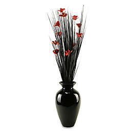 D&W Silks Artificial Orchid Blossom Arrangement in Red/Black with Black Lacquer Vase
