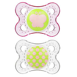 MAM Clear 0-6M 2-Pack Pacifiers in Pink/Green