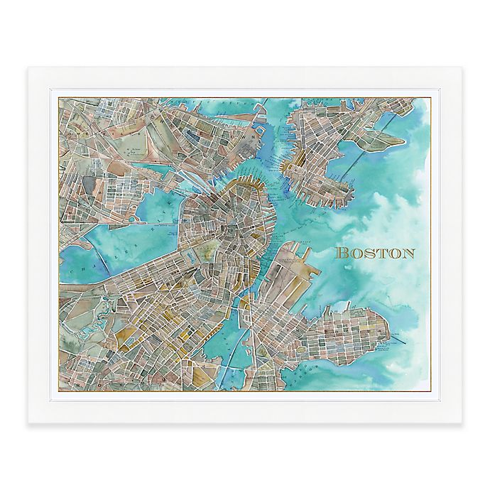 Boston Map Watercolor Wall Art In Natural Bed Bath Beyond