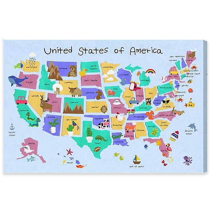 Alternate image 1 for Olivia's Easel 15-Inch x 10-Inch Fun Map II Canvas Wall Art