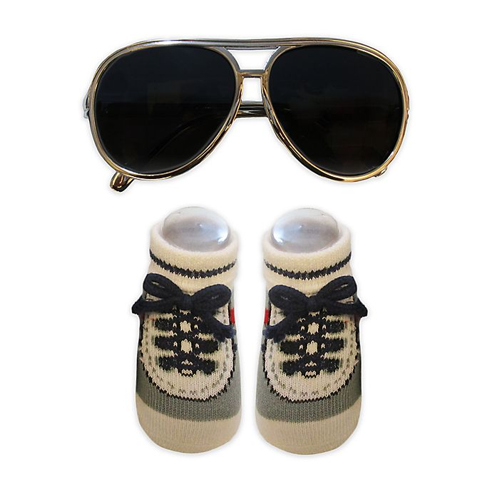 Alternate image 1 for So'Dorable Aviator Sunglasses and Booties Set in Silver/Grey