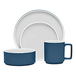 Noritake® ColorTrio Stax 4-Piece Place Setting in Blue/Grey