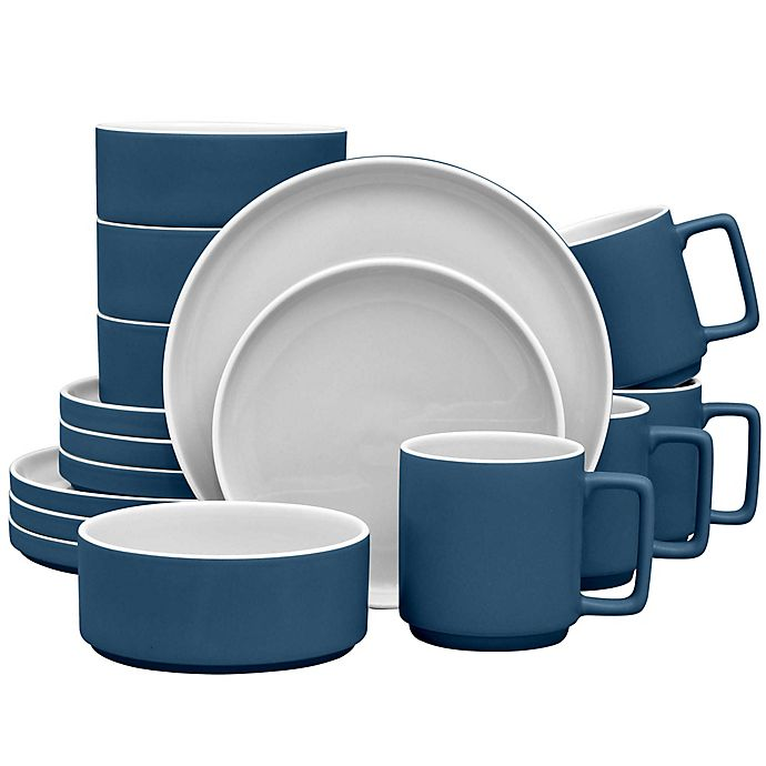 Alternate image 1 for Noritake® ColorTrio Stax 16-Piece Dinnerware Set in Blue/Grey