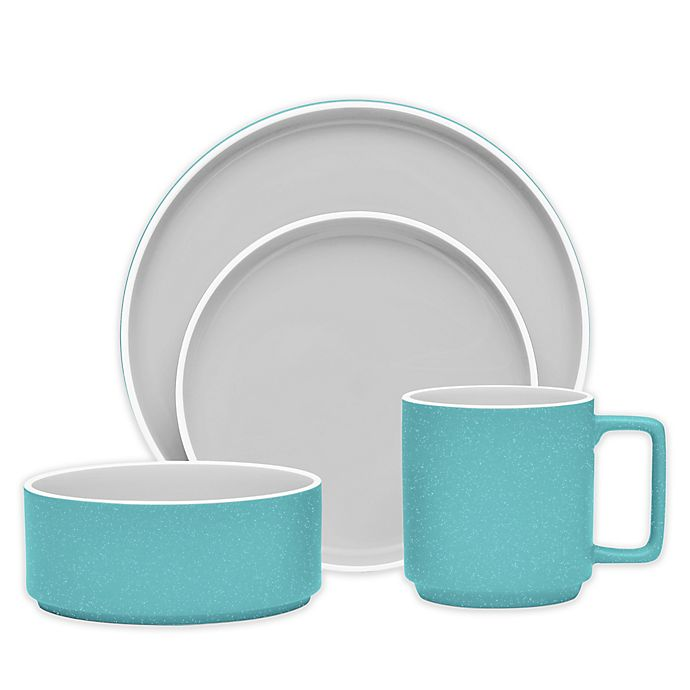 Alternate image 1 for Noritake® ColorTrio Stax Dinnerware Collection in Turquoise/Grey