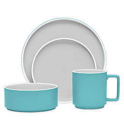 Noritake® ColorTrio Stax 4-Piece Place Setting in Turquoise/Grey