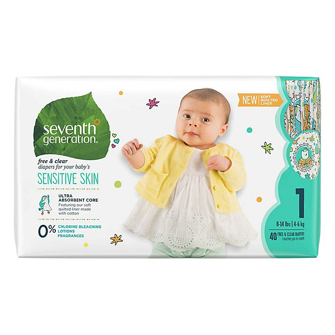 Alternate image 1 for Seventh Generation™ 40-Count Free and Clear Stage 1 Chlorine-Free Disposable Diapers