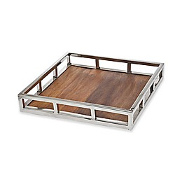 Godinger® Square Pillar Wood Tray
