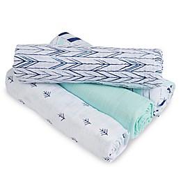 aden + anais™ essentials Indigo Trail Muslin 4-Pack swaddleplus® Blankets