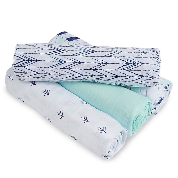 Alternate image 1 for aden + anais™ essentials Indigo Trail Muslin 4-Pack swaddleplus® Blankets