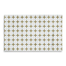 3-Foot x 5-Foot Cross Bathroom Rug in Gold/White