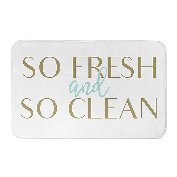 Alternate image 1 for 2-Foot 8-Inch x 1-Foot 75-Inch So Fresh and Clean Bathroom Mat in Yellow/Gold