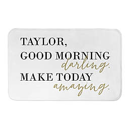2-Foot 8-Inch x 1-Foot 75-Inch Good Morning, Darling Bathroom Mat in Yellow/Gold
