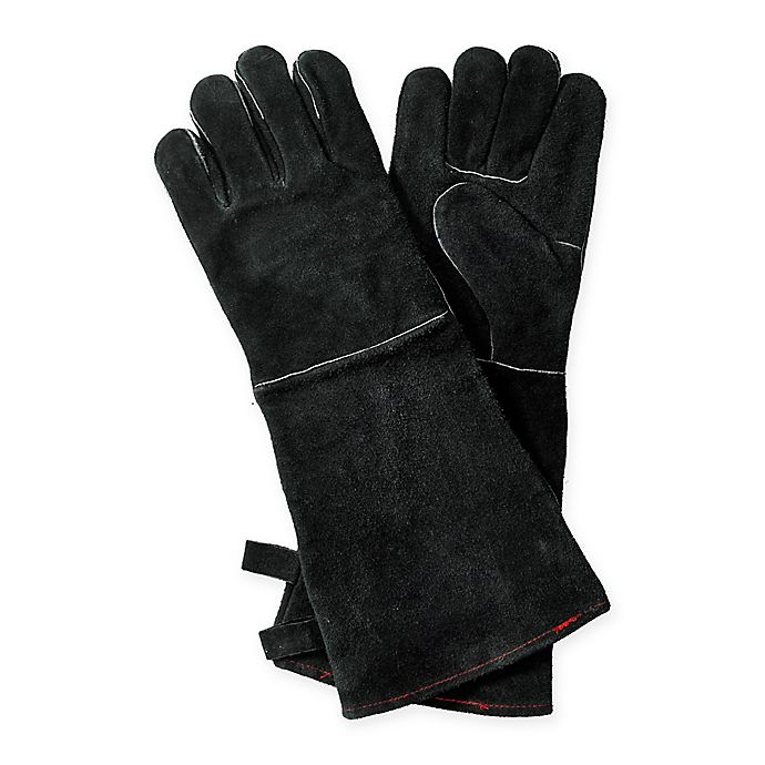 Alternate image 1 for Leather BBQ Gloves in Black