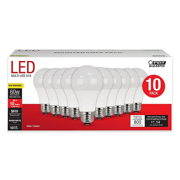 Alternate image 1 for Feit Electric 10-Pack 60W Equivalent A19 Shape LED Light Bulbs