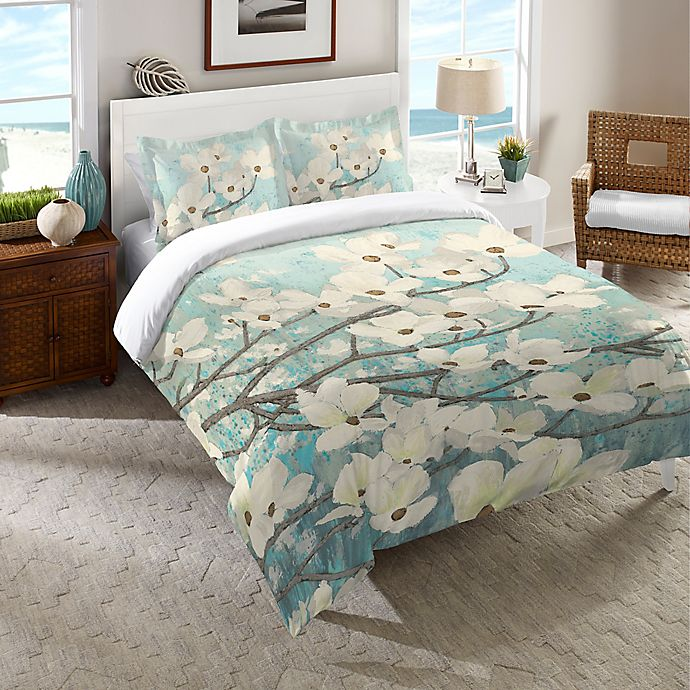 Alternate image 1 for Laural Home® Dogwood Blossoms Twin Comforter in Blue