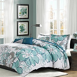 Mi Zone Allison Reversible Duvet Cover Set in Blue/Grey