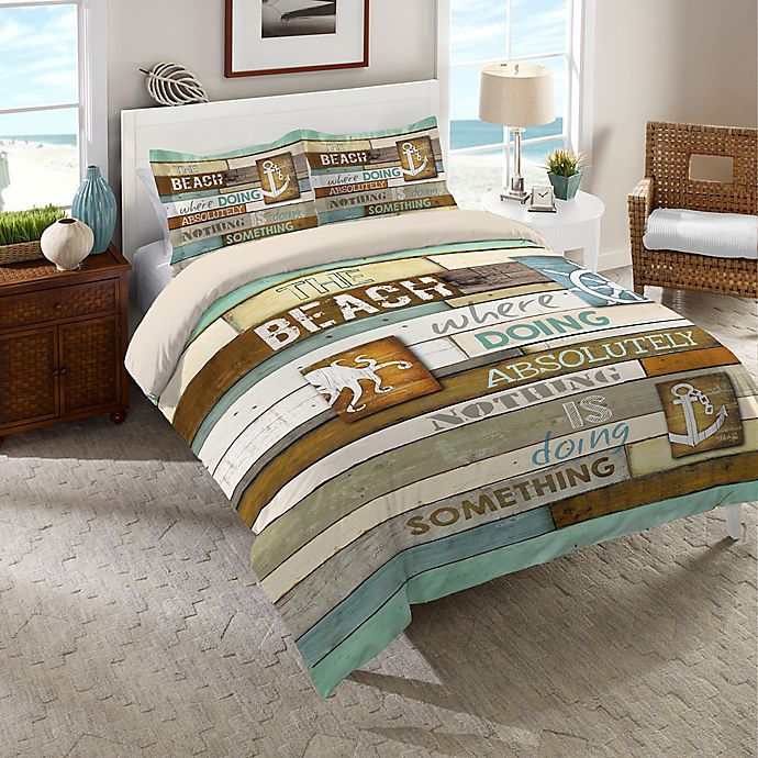 Alternate image 1 for Laural Home® Beach Mantra Twin Comforter in Blue