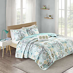 Mi Zone Tamil Coverlet Set in Blue