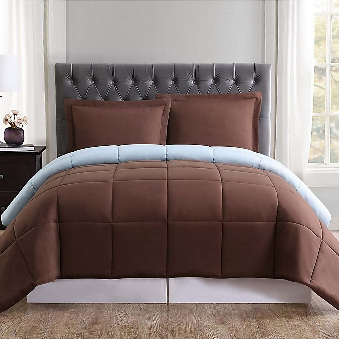 Alternate image 1 for Truly Soft Everyday 3-Piece Reversible King Comforter Set in Chocolate/Light Blue
