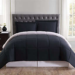 Truly Soft Everyday 3-Piece Reversible King Comforter Set in Black/Grey