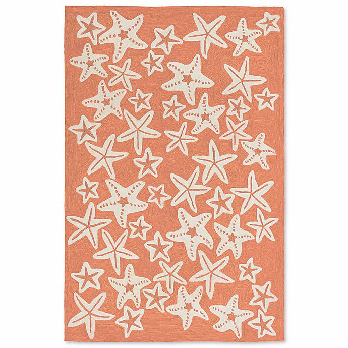 Alternate image 1 for Liorra Manne Capri Starfish 5-Foot x 7-Foot 6-Inch Indoor/Outdoor Area Rug in Coral