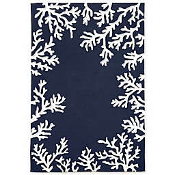 Liora Manne Capri Coral Border Indoor/Outdoor Rug in Navy