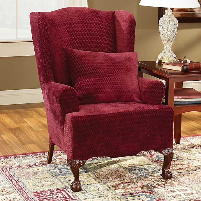 Alternate image 1 for Sure Fit® Stretch Royal Diamond Wingback Chair Slipcover