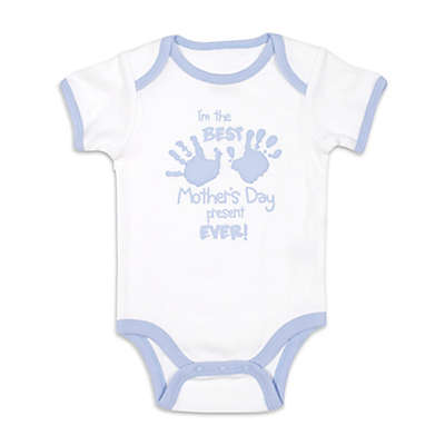 "babyGEAR™ ""I'm the Best Mother's Day Present Ever"" Handprint Bodysuit in White"