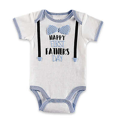 "babyGEAR™ ""Happy First Father's Day"" Bodysuit in White"