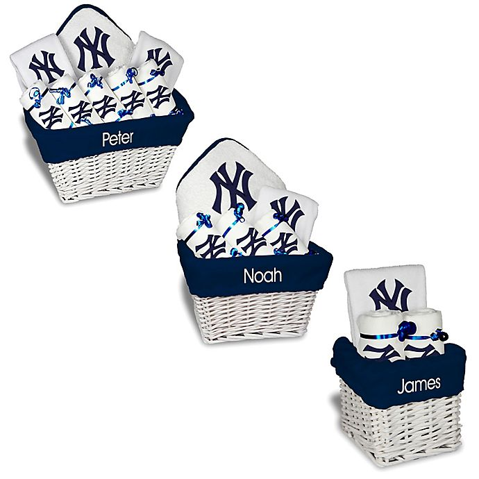 Alternate image 1 for Designs by Chad and Jake MLB Personalized New York Yankees Baby Gift Basket