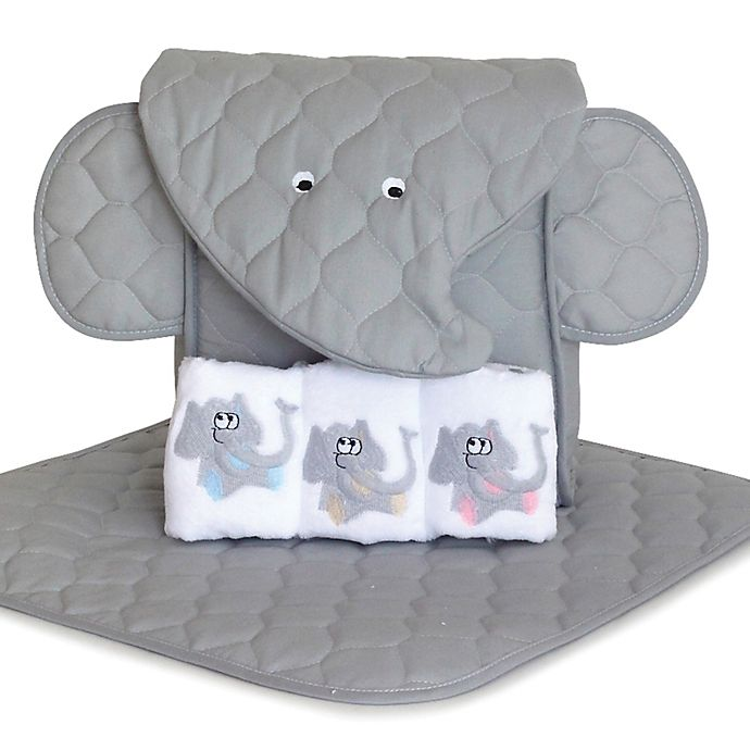Alternate image 1 for Silly Phillie® Elephant 5-Piece Diaper Tote Gift Set in Grey/White