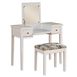 Linon Home Folding-Top 2-Piece Vanity Set with Butterfly-Print Bench