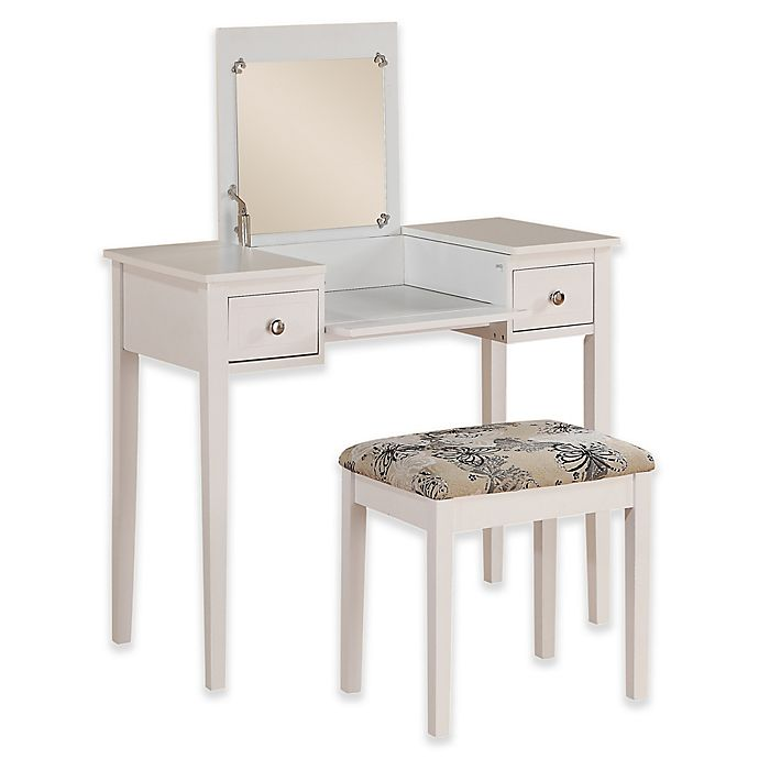 Alternate image 1 for Linon Home Folding-Top 2-Piece Vanity Set with Butterfly-Print Bench