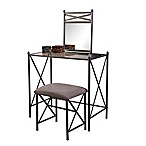 Linon Home Mission Hills 3-Piece Vanity Set in Dark Grey