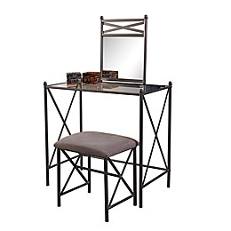 Linon Home Mission Hills 3-Piece Vanity Set in Dark Grey