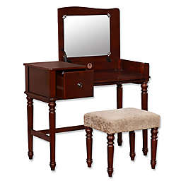 Linon Home Wyndham 2-Piece Vanity Set in Walnut