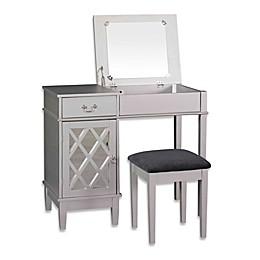 Linon Home Lattice 2-Piece Vanity Set in Silver