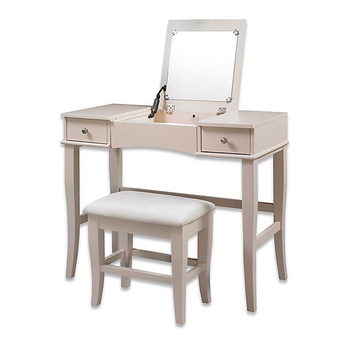 Linon Home Jackson 2 Piece Vanity Set In Cream Bed Bath