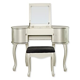 Linon Home Paloma 2-Piece Vanity Set in Silver