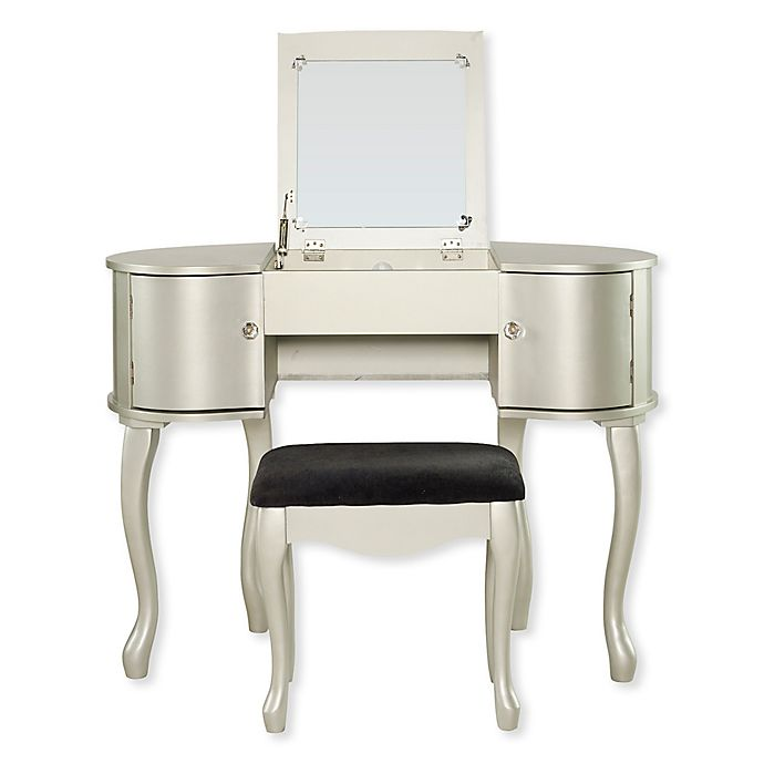 Linon Home Paloma 2 Piece Vanity Set In Silver View A Larger Version Of This Product Image