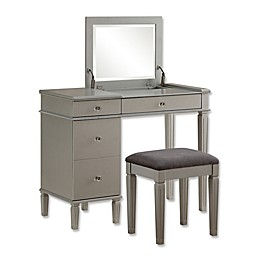 Linon Home Alexandra 2-Piece Vanity Set in Silver