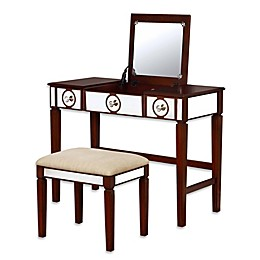Linon Home Madison 2-Piece Vanity Set in Walnut