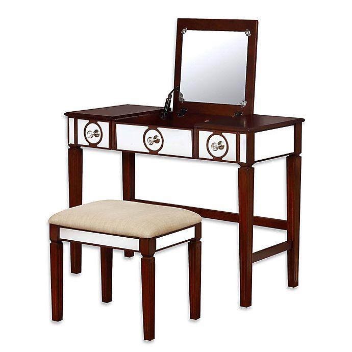 Two Piece Vanity Sets: Linon Home Madison 2-Piece Vanity Set In Walnut